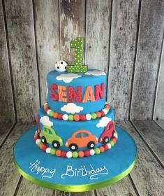 boys blue bus birthday cake