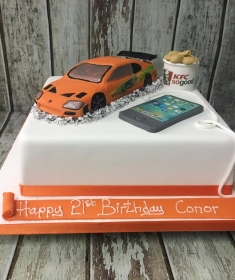 The fast and the furious car & KFC birthday cake