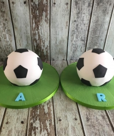 football birthday cake for twins