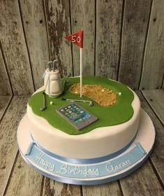 golf scene birthday cake