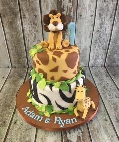 jungle 2 tier birthday cake
