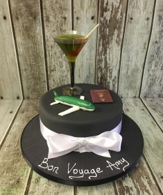 ladies birthday cake with aeroplane & cocktail glass