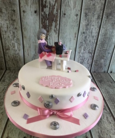 lady with sewing machine birthday cake