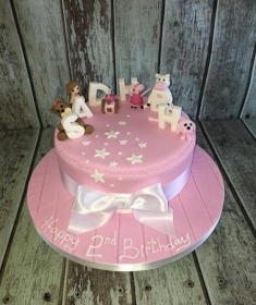 pink girls birthday cake