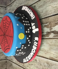 spiderman & Batman birthday cake