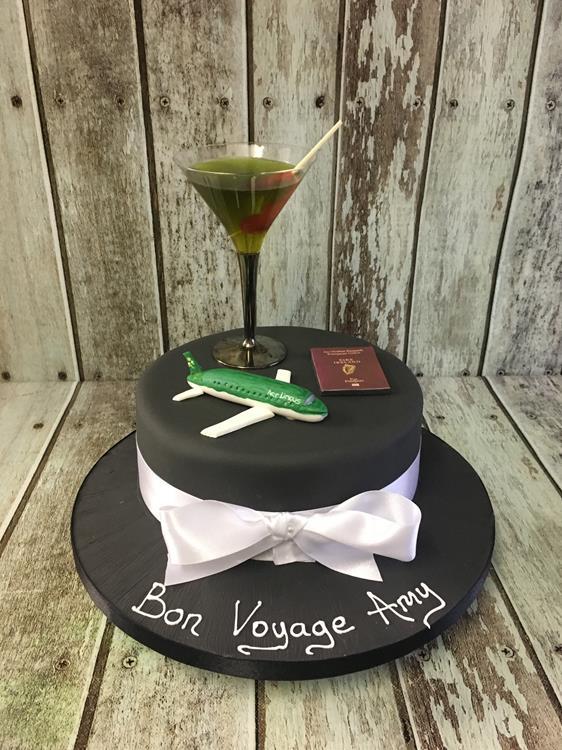 ladies birthday cake with aeroplane & cocktail glass