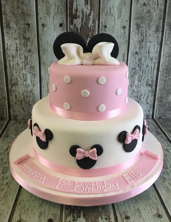 mini mouse girls pink birthday cake