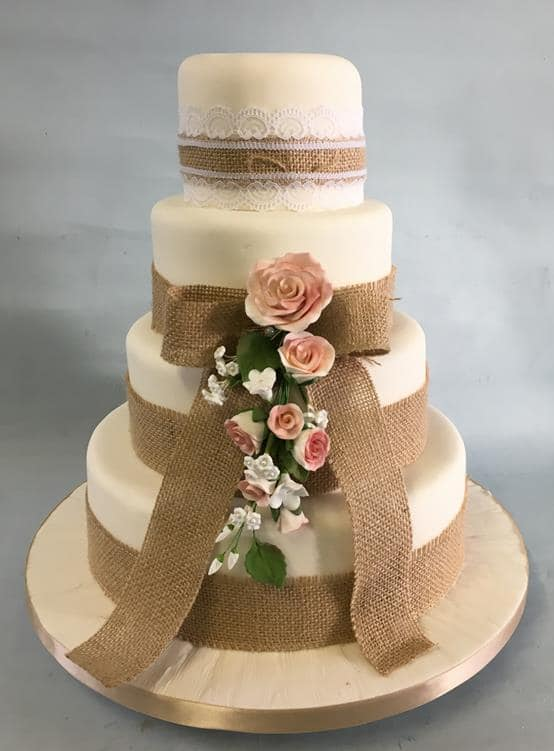 Burlap wedding cake 4 tier