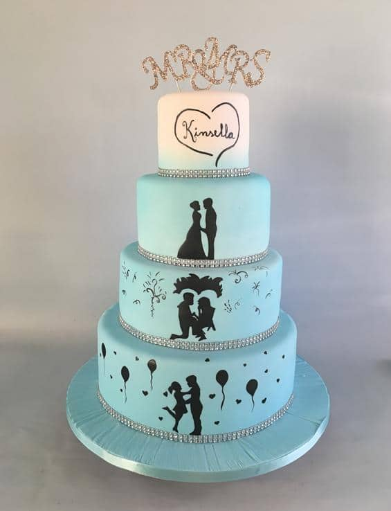 Silhouette wedding cake blue
