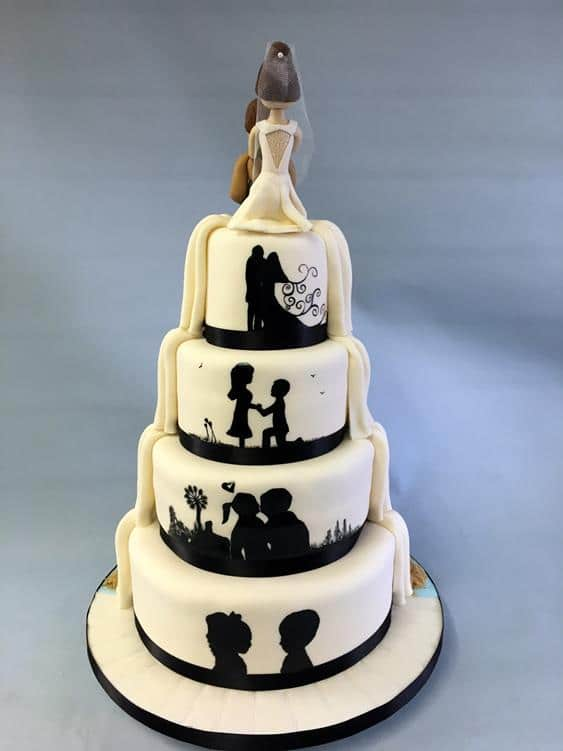 Silhouette wedding cake white