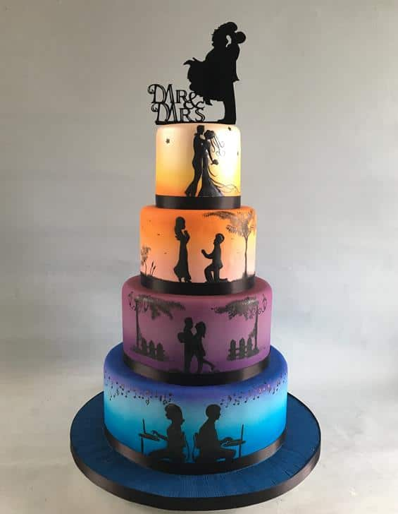 Silhouette wedding cake,2