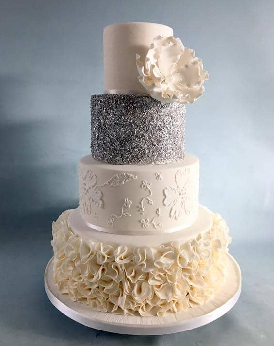 Silver Ruffels wedding cake