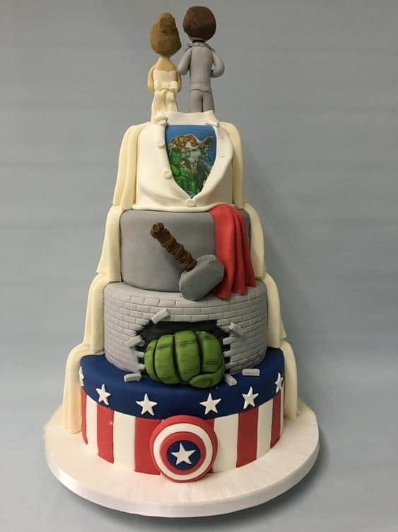 Superhero themed wedding cake