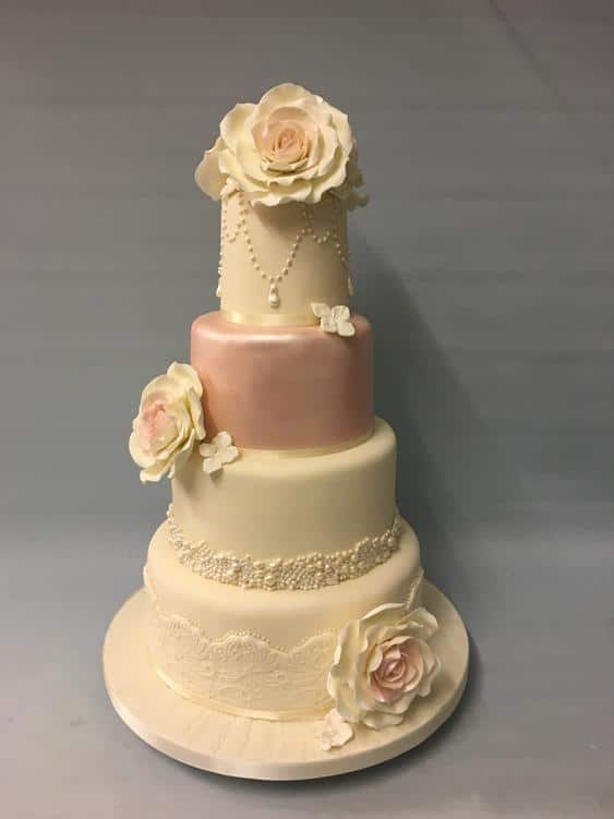 Vintage rose pink wedding cake