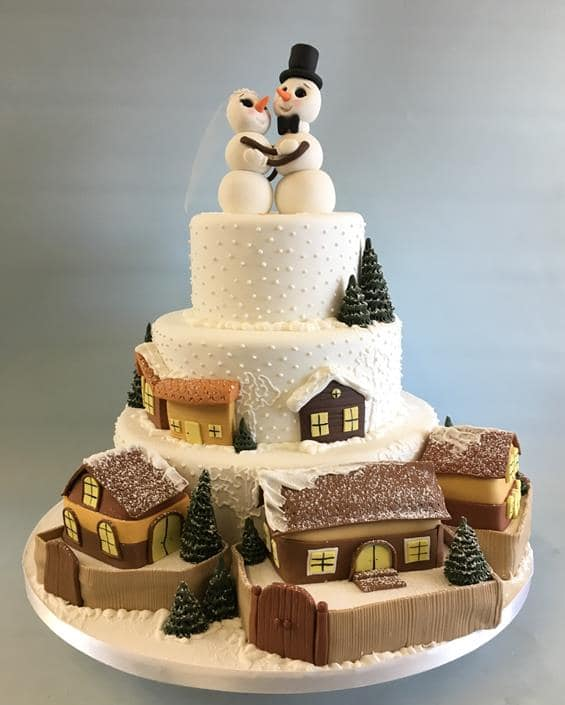 Winter Scene wedding cake