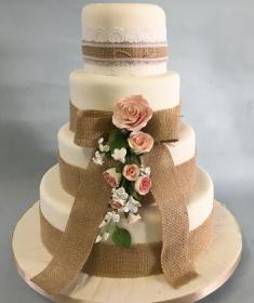 Burlap wedding cake 4 tier