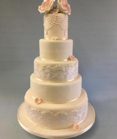 Vintage large lace wedding cake