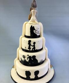 Silhouette wedding cake white