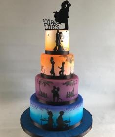 Silhouette wedding cake,2