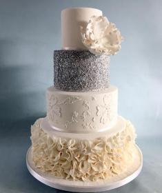 Silver Ruffels wedding cake