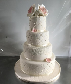 Vintage rose wedding cake,1