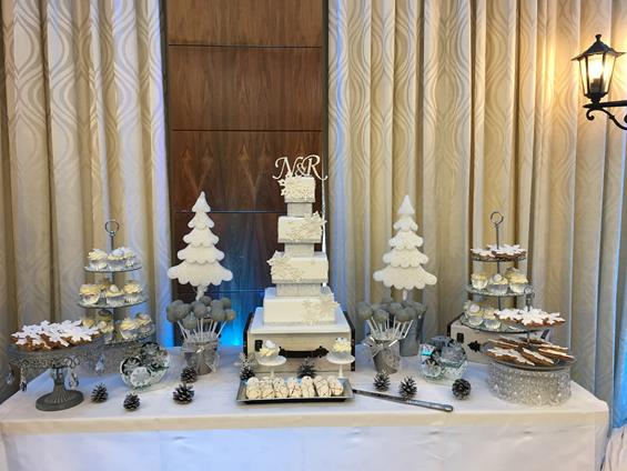 winter themed wedding cake table